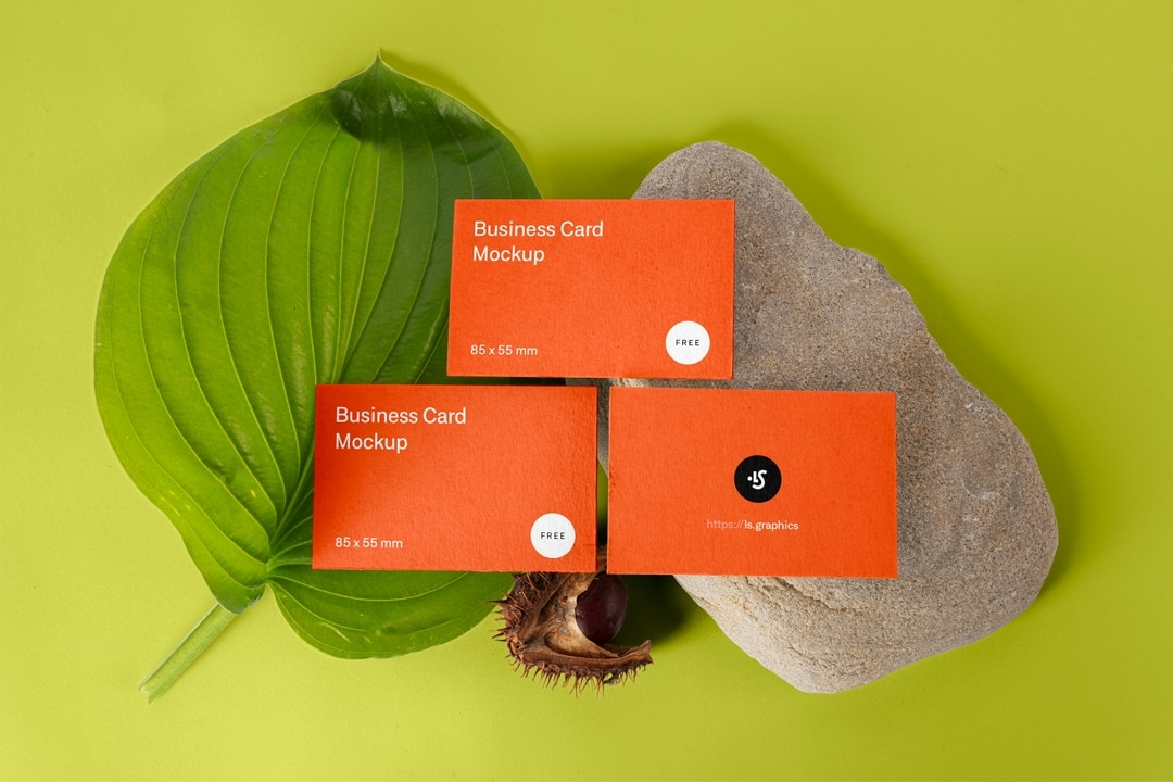 Free Three Business Cards Mockups