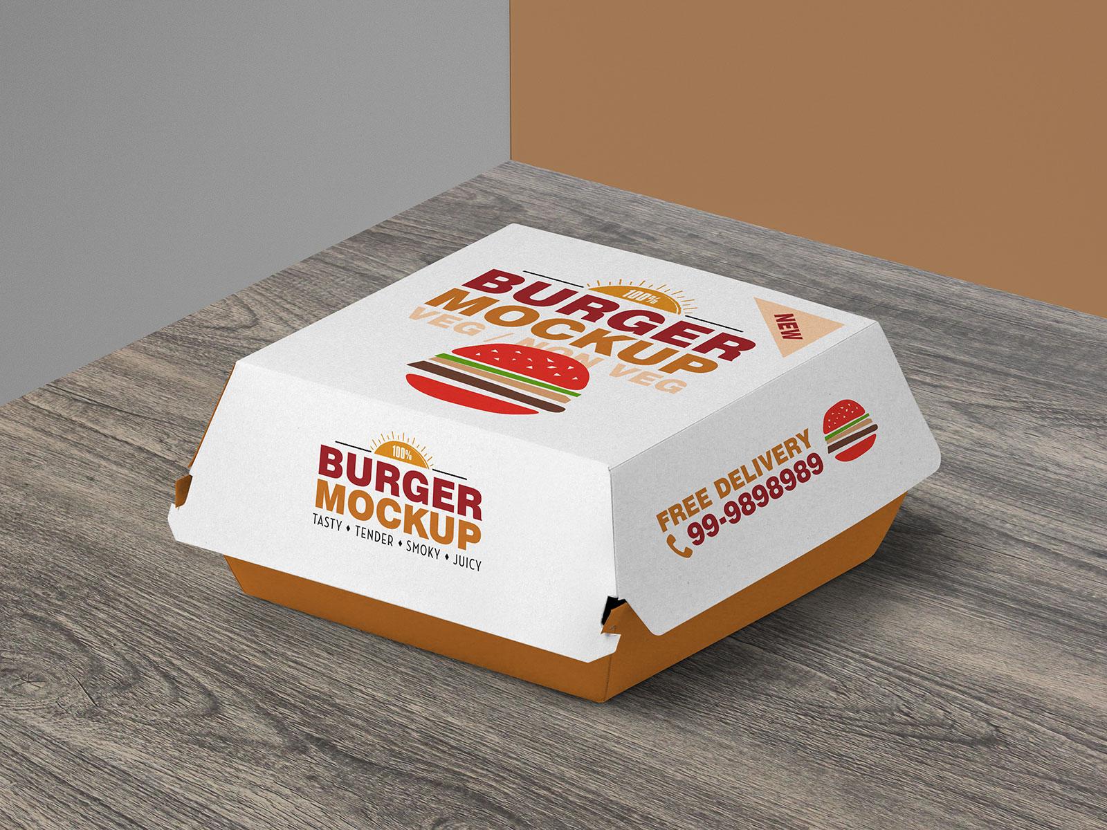 Free Burger Packaging Mockup PSD