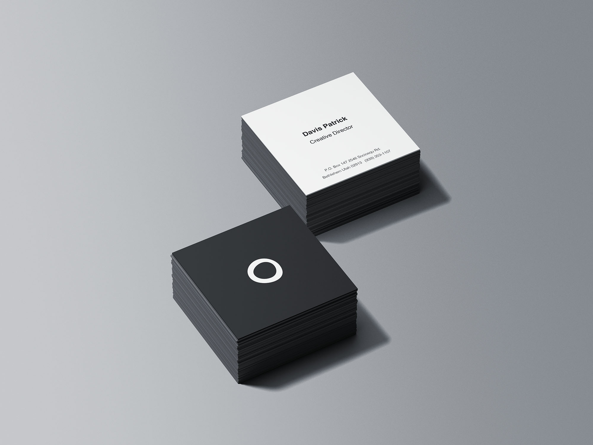 Square Business Card Stacks Mockup