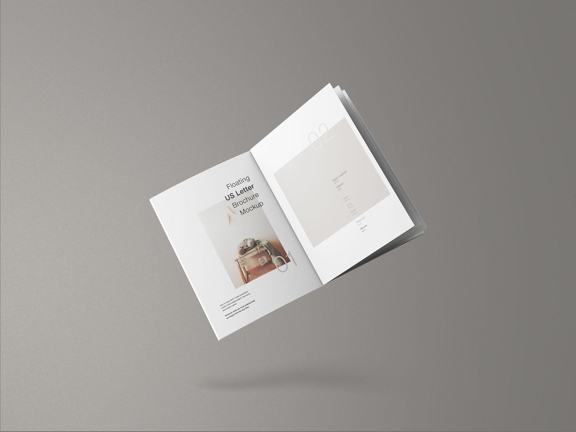 Minimal Floating US Letter Brochure Mockup
