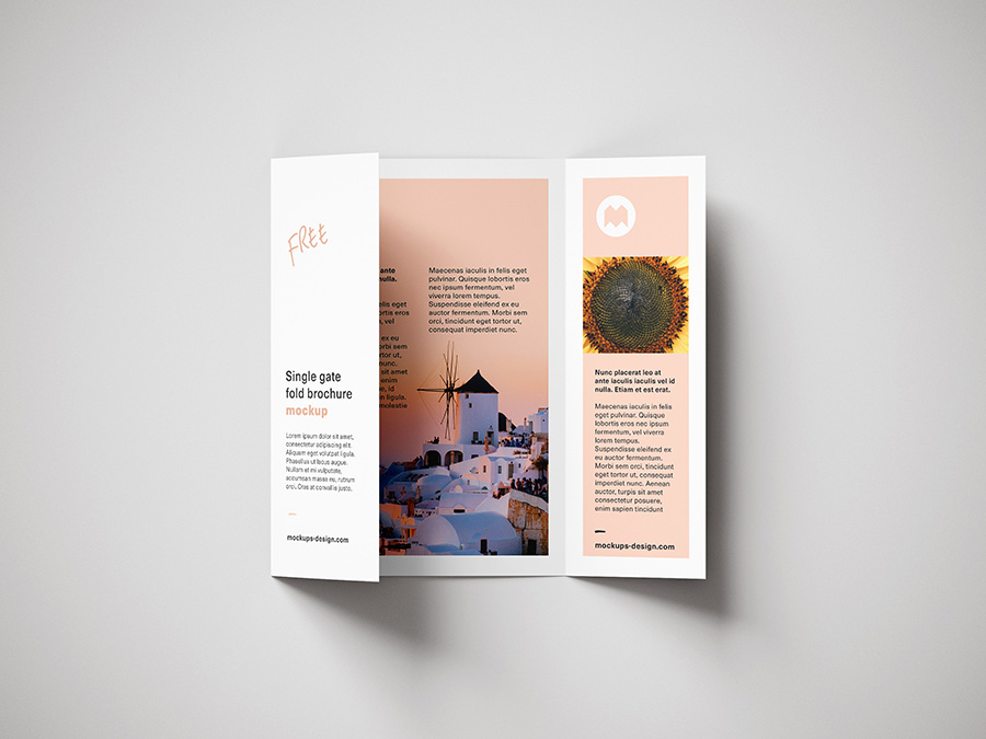 Free Single Gatefold Brochure Mockup