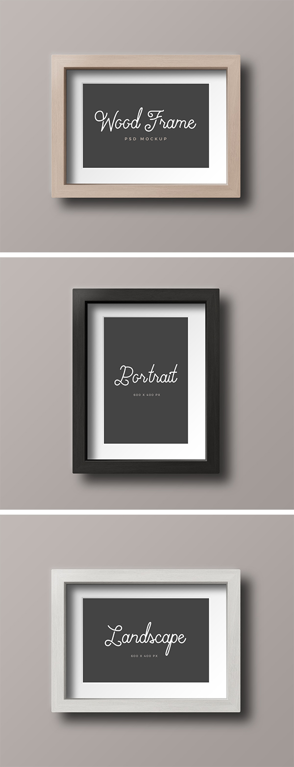 Wood Photo Frame Mockup