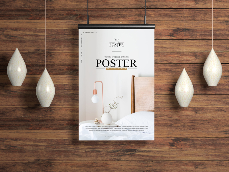 Wooden Interior Hanging Poster Mockup