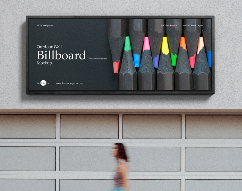 Free Outdoor Wall Billboard Mockup