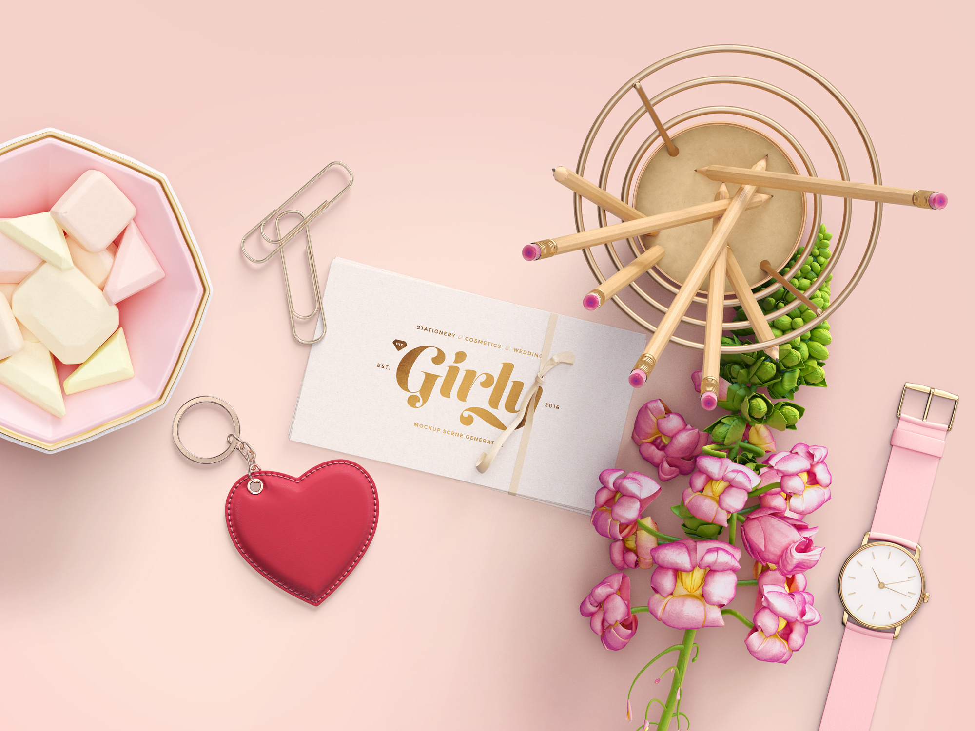 Three Girly Branding Mockups