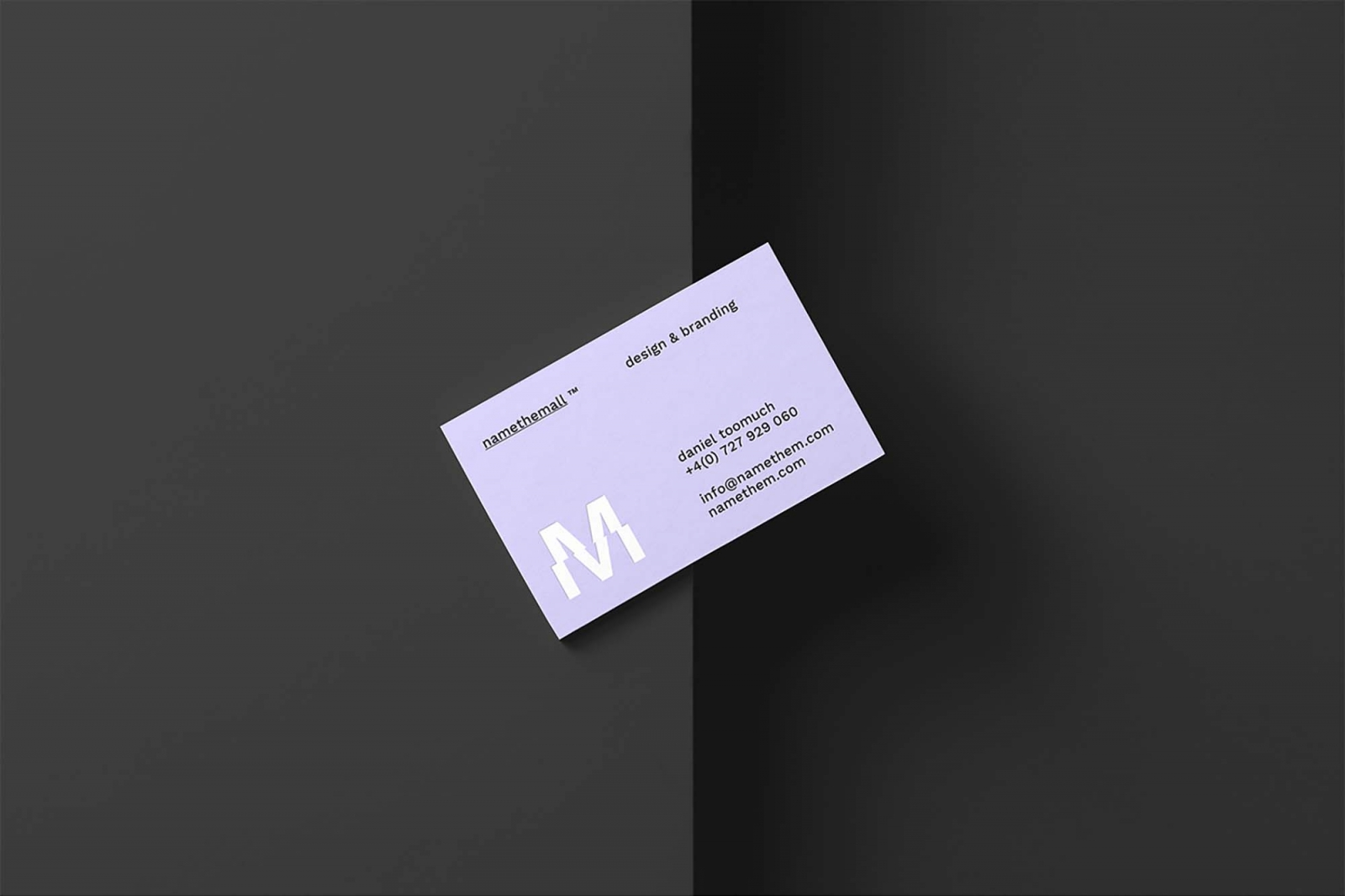Free Diagonal Business Card Mockup