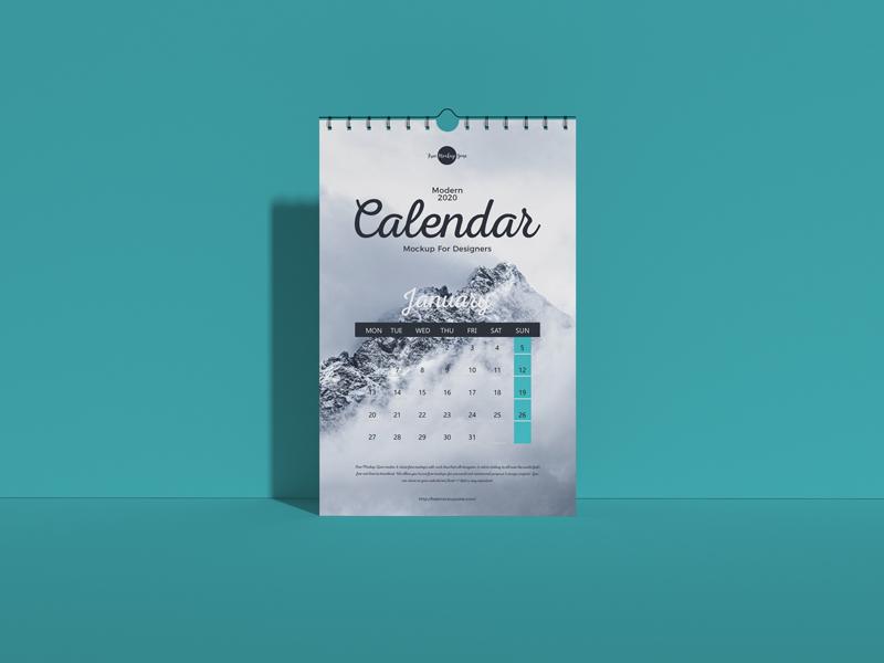 Free Wall Calendar Mockup 2020