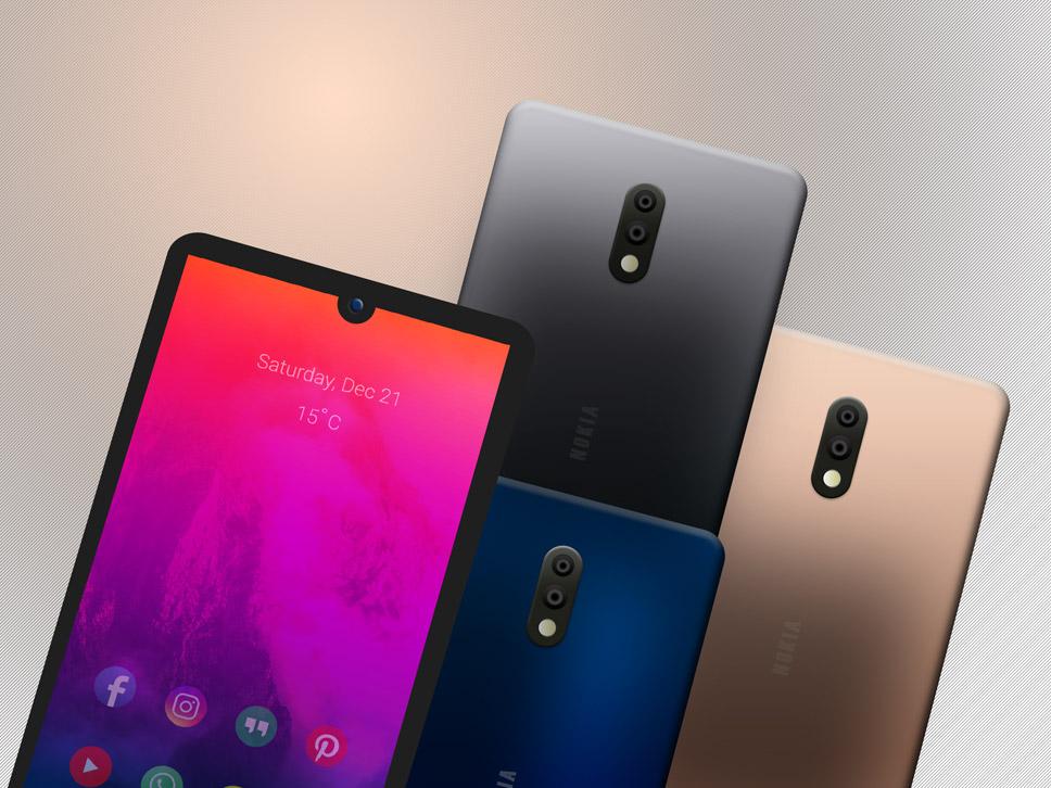Nokia 2.3 Smartphone Mockup PSD