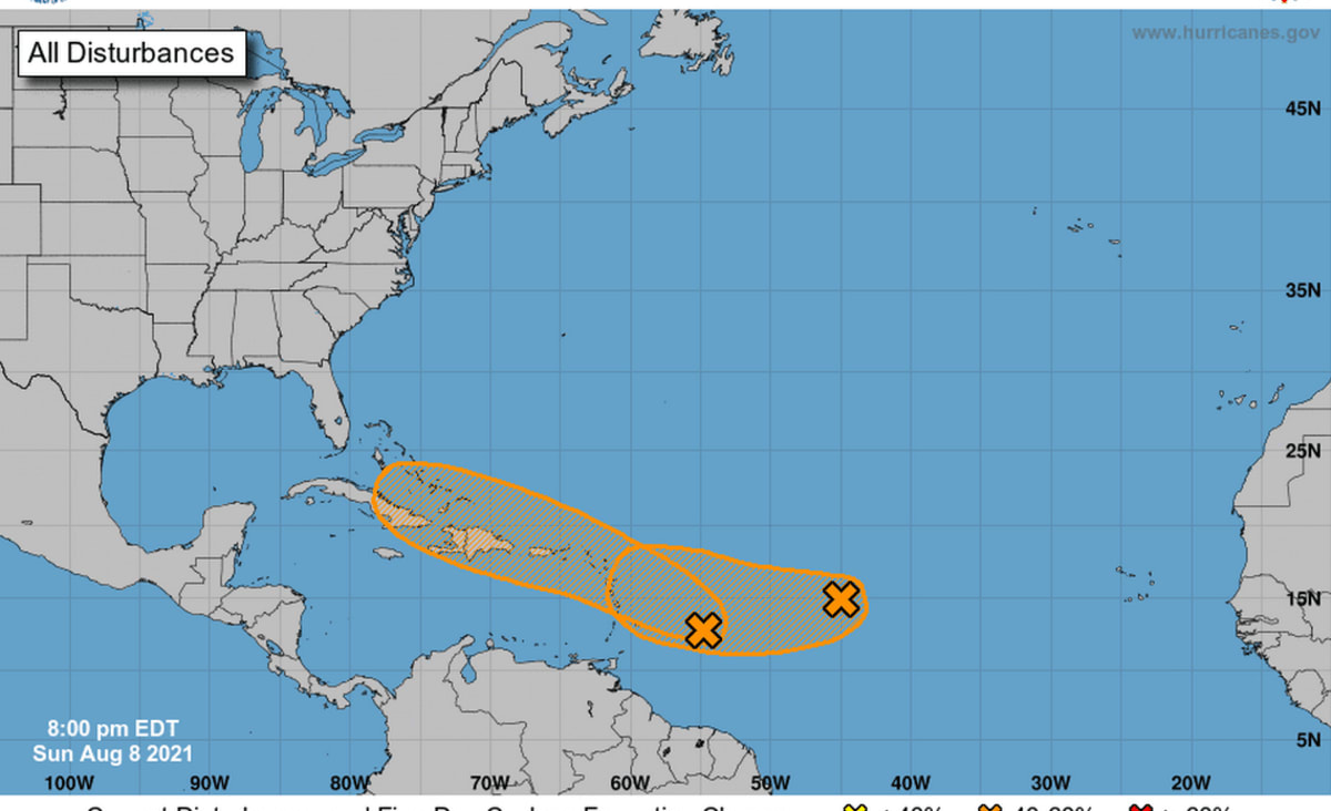 Two disturbances brewing in the Atlantic. Both could become tropical depressions this week