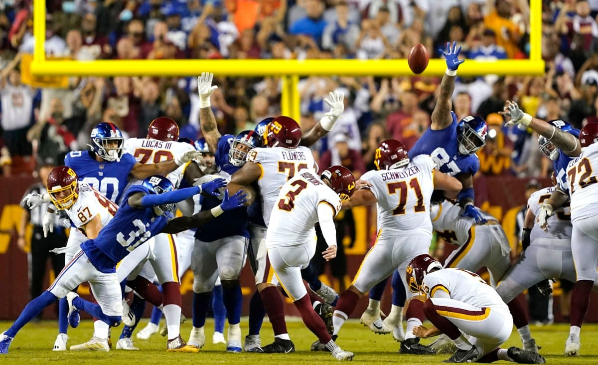 Giants suffer painful loss after giving Washington second kick to win it