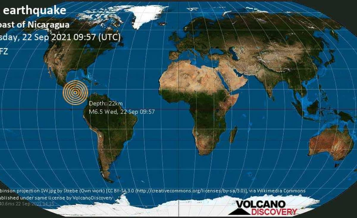 Very strong mag. 6.5 earthquake - North Pacific Ocean, 77 km southwest of Chinandega, Nicaragua, on Wednesday, Sep 22, 2021 3:57 am (GMT -6) - 115 user experience reports