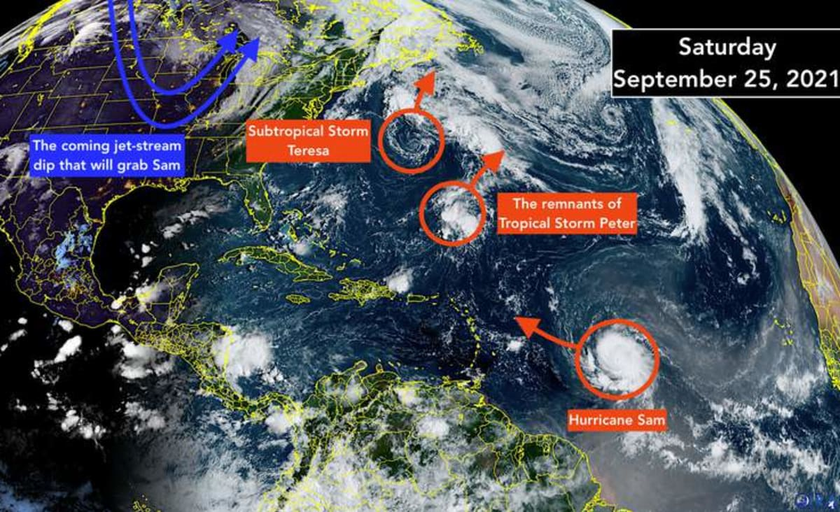 Powerful Hurricane Sam is likely to stay clear of the Caribbean islands