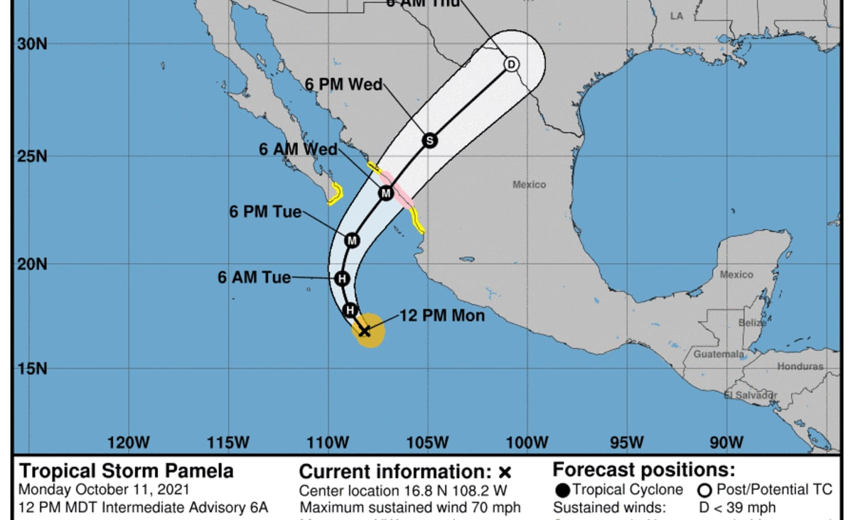 Tropical Storm Pamela, forecast to become Category 3 hurricane with 120 mph winds, threatens Mexico