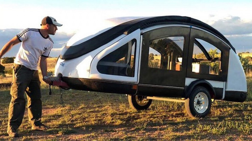 This Ultralight Semi-Modular Trailer Made From Chicken Feathers, 300 Pounds
