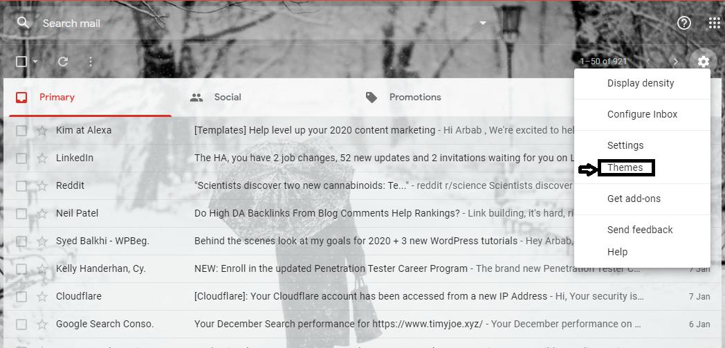 activate gmail dark mode on desktop