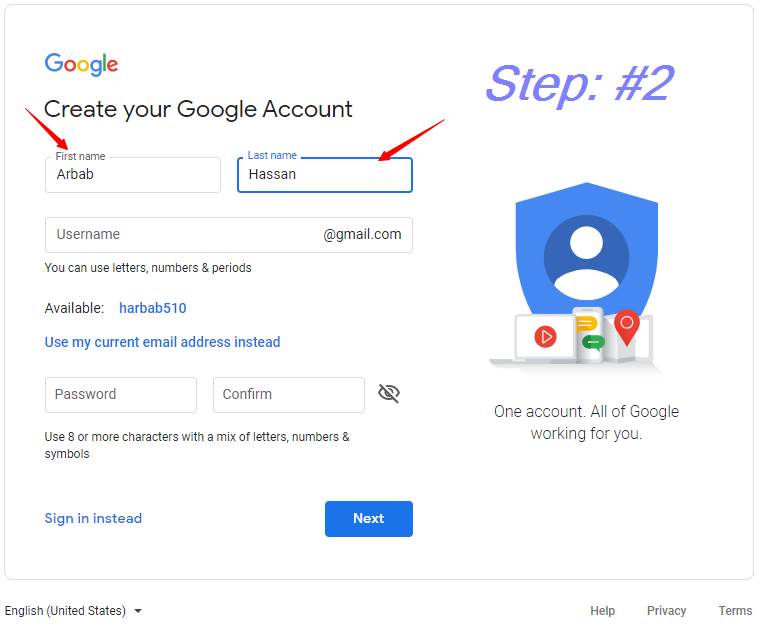 Enter your First and Last Name ||how to create a Gmail account