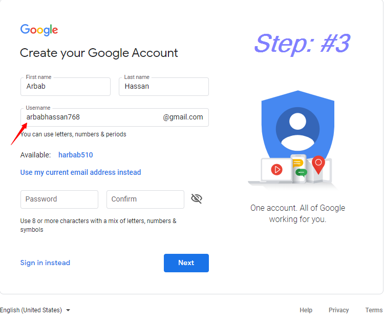 Enter your desired Username || how to create a Gmail Account