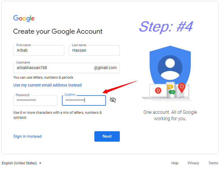 Create your password || how to create a Gmail Account