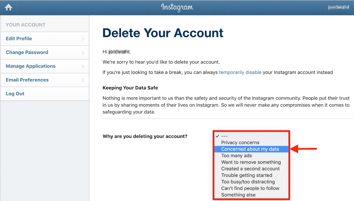 Select reason why you are deleting your instagram account