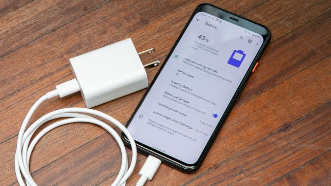Google Pixel 5 with charger