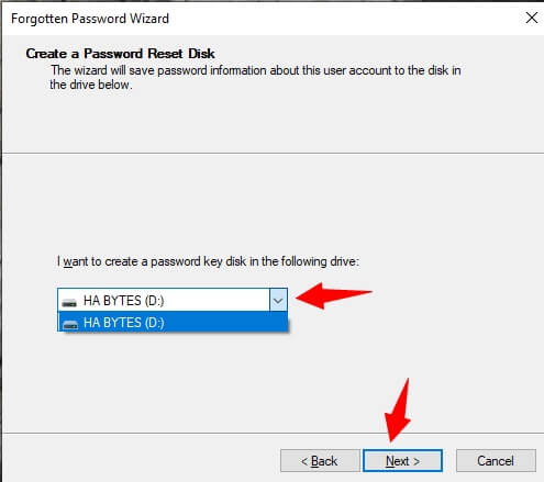 select USB and click next