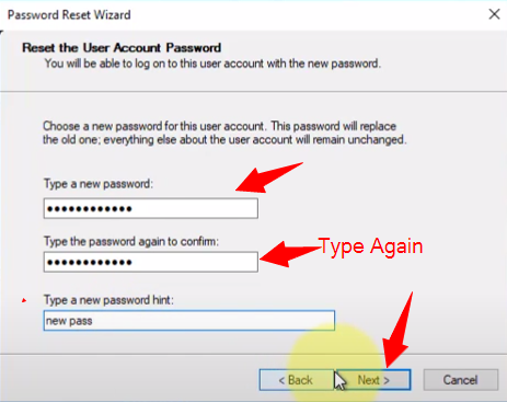 type new password and click on next