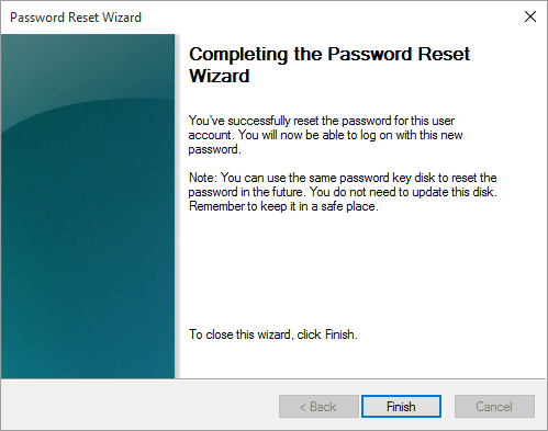 Completing the password reset disk