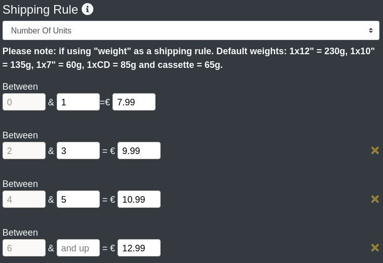 create a shop - shipping rule and ranges