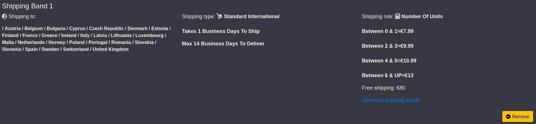 create a shop - shipping band