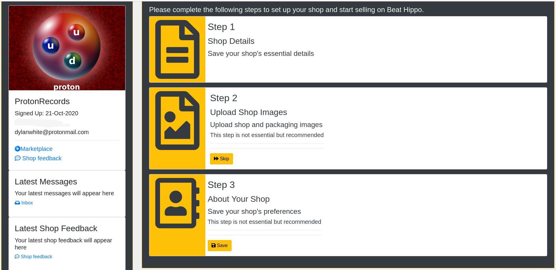 create a shop - shop details page