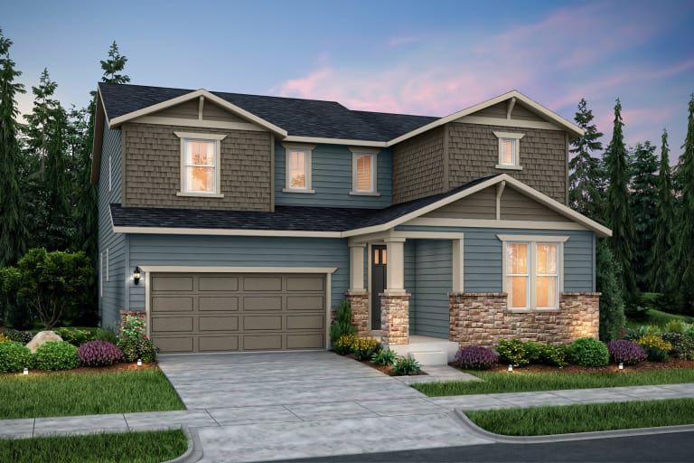 the roslyn a two story single family home shown in home exterior b - Single Story Home Exterior