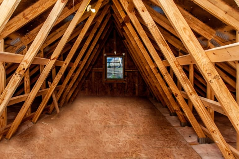 Truss attic studio interior living spaces exposed for Garage attic storage