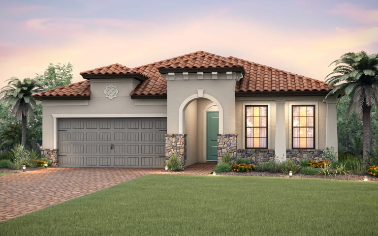 the summerwood a single story family home with a 2 car garage shown - Single Story Home Exterior