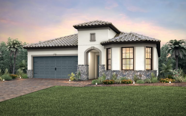 the pompeii a single story family home with a 2 car garage shown - Single Story Home Exterior