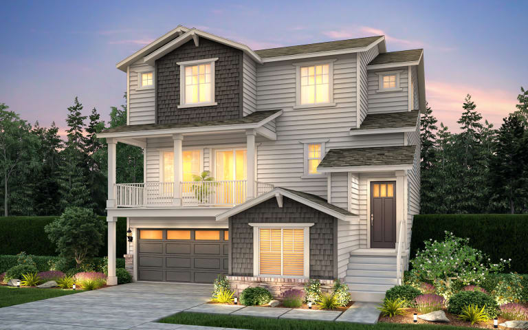 Lynden in Kirkland, WA at Marinwood | Pulte on single level homes, exterior retail store design, single story interior design, rustic modern home design, single story home with round columns, one story house roof design, wood house design, single story traditional home exteriors, two-story office building design, kerala flat roof house design, home house design, mid century modern lake home design, building exterior design,