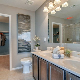 Double vanity in owner's bath