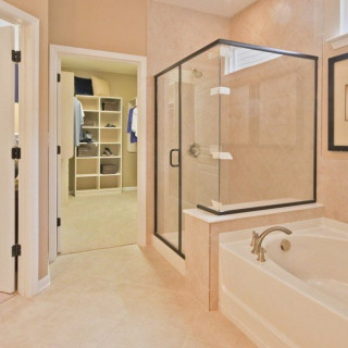 Semi-Frameless Bronze Shower Door
