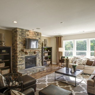 Stone Fireplace and 4' Gathering Room Extension (images from Vanderbilt Model)