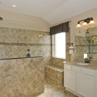 Glamour Shower with Granite Countertops in the Master Bath
