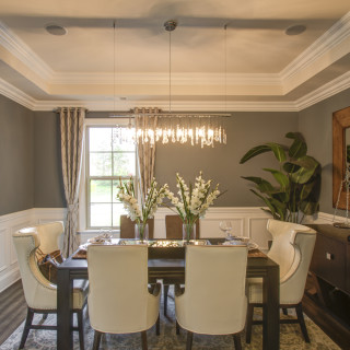 Tray Ceiling in the Dining Room & Hardwood Floors