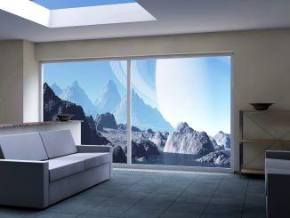 interiér obývacího pokoje s výhledem na moře
