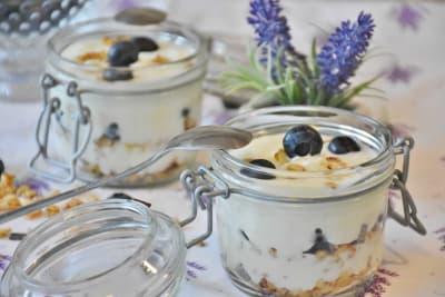 jogurtový dezert s borůvkami