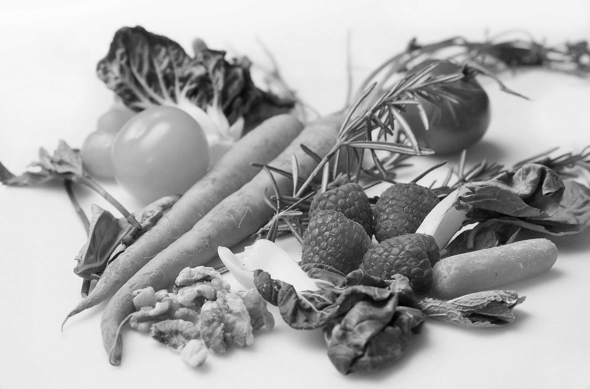 Hubnutí – pozadí se zeleninou