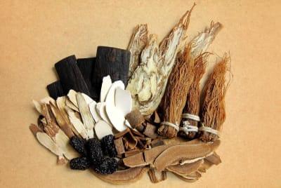 sušené bylinky z tradiční čínské medicíny