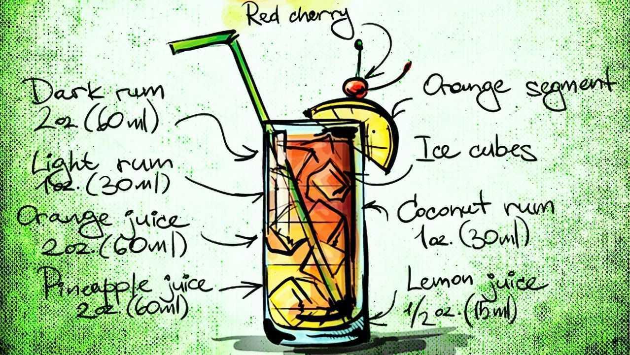 bahama mama koktejl recept