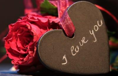růže se srdcem a nápisem i love you