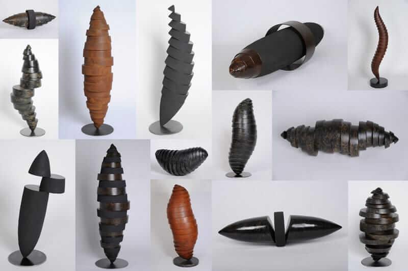 Les Volumes - Sculptures en métal de formes oblongues par le sculpteur félix Valdelièvre