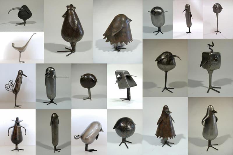 Les piafs - sculptures d'oiseau en métal de Félix Valdelièvre
