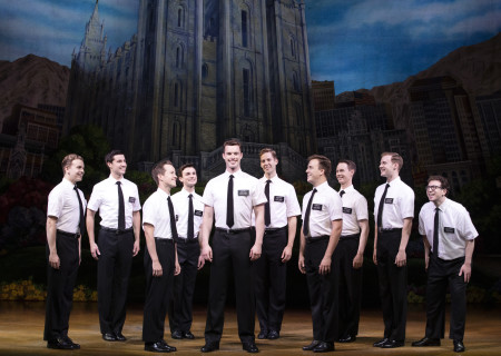 "The company of ""The Book of Mormon."" With book, music and lyrics by Trey Parker, Robert Lopez and Matt Stone, choreography by Casey Nicholaw and direction by Nicholaw and Parker, ""The Book of Mormon"" will be presented by Center Theatre Group at the Ahmanson Theatre February 18 through March 29, 2020. For more information, please visit CenterTheatreGroup.org. Press Contact: CTGMedia@CTGLA.org / (213) 972-7376. Photo by Julieta Cervantes."