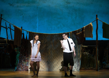 "L-R: Alyah Chanelle Scott and Jordan Matthew Brown in ""The Book of Mormon."" With book, music and lyrics by Trey Parker, Robert Lopez and Matt Stone, choreography by Casey Nicholaw and direction by Nicholaw and Parker, ""The Book of Mormon"" will be presented by Center Theatre Group at the Ahmanson Theatre February 18 through March 29, 2020. For more information, please visit CenterTheatreGroup.org. Press Contact: CTGMedia@CTGLA.org / (213) 972-7376. Photo by Julieta Cervantes."